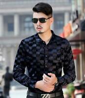 Hot Spring Luxury Men Top Quality Formal Silk Floral Pleuche Print Dress Shirt@@