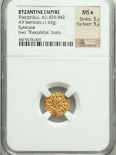 Byzantine Empire Theophilus Semissis NGC MS ⭐ 5/5 Ancient Gold Coin