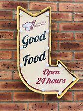 Gran signo de flecha LED Luz Retro buena comida Kichen Placa Restaurante Cafe