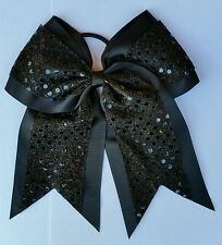 "8"" Black Sequins, Big Cheer Bows, Softball Cheerleading, Soccer, Volleyball"