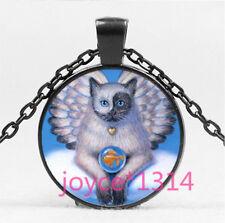 Vintage Angel Cat Cabochon Black Glass Chain Pendant Necklace HS-6167