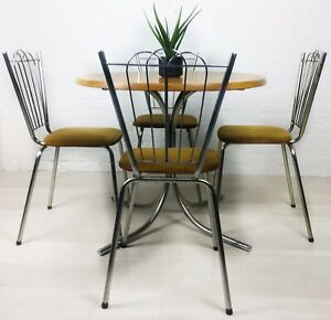 RETRO KITCHEN TABLE AND CHAIRS VINTAGE RETRO CHROME AND SUEDE