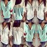 Sexy Women V-neck Short Sleeve Chiffon Zipper Loose Casual Blouse Top T-shirt