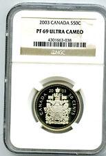 2003 CANADA SILVER PROOF 50 CENT HALF DOLLAR NGC PF69 UCAM SUPER RARE POP=3