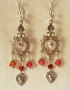 Beautiful MILAGRO EX-VOTO Flaming Sacred HEART EARRINGS HandCrafted Red Crystals