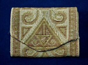ANTIQUE TAPESTRY DESIGN FOLDING SEWING NEEDLE CASE