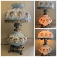 Vintage Gone With The Wind Electric Brass Hurricane Lamp Baby Blue Cloud Floral