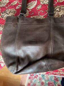 Roots brown leather shoulder bag