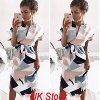 UK Women Floral Short Sleeve Party Evening Cocktail Long Dress Sundress Size6-16