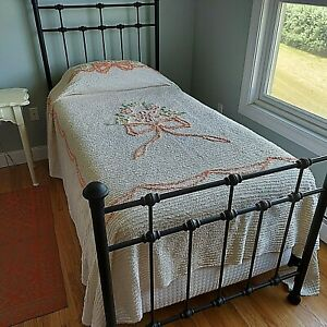 """Twin Cotton Chenille Bedspread Peach Bow Floral Lightweight Vintage 93x102"""""""