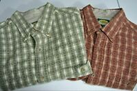 Lot Of 2 Cabela's Mens L Shirts Green/Red Plaid Long Sleeve Button Front Cotton