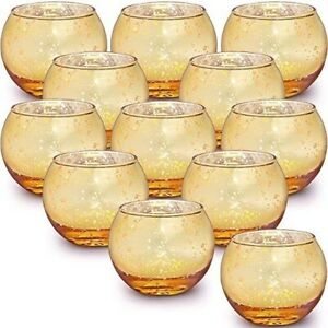12 Pcs Votive Candle Holders Set Gold Birthday Party Wedding Decorations Home