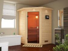 Sauna Saunakabine Massivholz Fichte 2 Liegen Wellness Trockensauna Ganzglastür