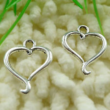 Free Ship 90 pieces Antique silver heart charms 21x17mm #141