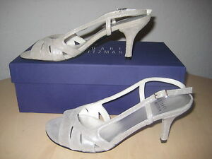 Stuart Weitzman Shoes Size 6 M Womens New Mischievous Silver Open Toe Heels