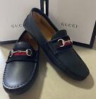 NIB-Gucci-Boys-Kids-Leather-Driver-Shoes-Black-Size-3113-US-Age-6
