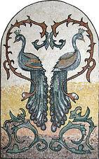 Peacock Love Couple Archaic Bird Nature Garden Home Decor Marble Mosaic An455