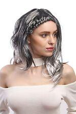 Perücke Damen Karneval aufwendig geflochten ombre schwarz silber-grau lang glatt
