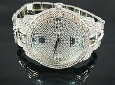 """""""NEW"""" TECHNO PAVE MEN'S SILVER PLATED LUXURY DESIGN CUBAN ICED OUT BLING WATCH"""