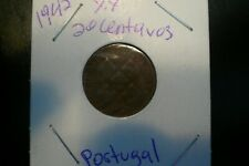 PORTUGAL 1942 AND 1944  XX 20 CENTAVOS COINS  VERY FINE KEY DATE SET OF 2  COINS