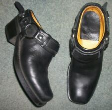 SOLETECH BLACK LEATHER BOOT LOOK CLOGS SHOES SIZE 6M