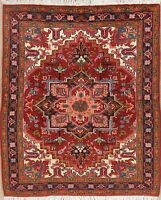 One-of-a-Kind 5'x6' Geometric Heriz Serapi Area Rug Wool Hand-Knotted Carpet NEW