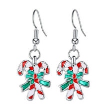 """1 5/8"""" Candy Cane Red Green Enamel Christmas Holiday Silver Tone Dangle Earrings"""