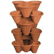 6 X Strawberry Planter Trio Stacking Stackable Outdoor Garden Plastic Plant Pot