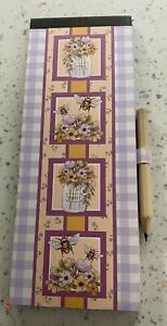 Handmade Magnetic Shopping List Memo Notes Pad Fridge with pencil bees,hare,hogs