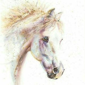 Fine Art Print of WHITE HORSE watercolour by HELEN APRIL ROSE   638