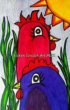 "Original Chicken Artwork My Little Chicken Coop, ""2 Sassy Sisters"""