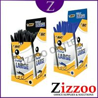BIC CRISTAL LARGE PENS 1.6MM IN BLACK OR BLUE AND VARIOUS QTY's ALSO FREE POST