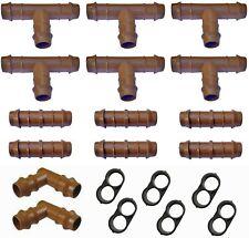 "Habitech Irrigation Fittings Kit for 1/2"" Tubing 20 Piece Set - 6 Tees, 6."