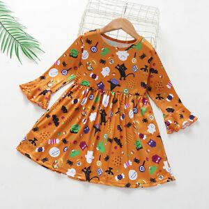 Toddler Kids Baby Girls Long Sleeve Halloween Cartoon Printed Princess Dress