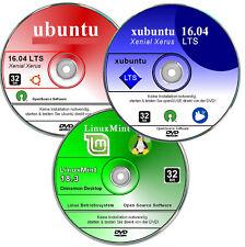 ubuntu, LinuxMint, xubuntu ,  Linux Paket 32 bit      ✔ Neu 2018    ✔ 3 DVD`s