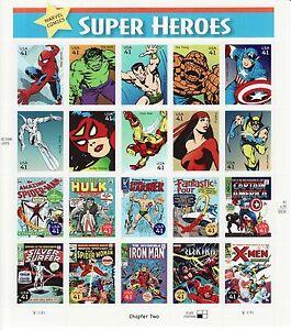 MARVEL COMICS SUPER HEROES STAMP SHEET -- USA #4159 41 CENT 2007