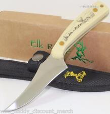 Elk Ridge Smooth Bone Scrimshaw Buck Deer Scene Upswept Hunting Skinning Knife