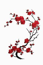 """#6767A 10-5/8"""" Red Quince, Sakura Flower Embroidery Iron On Applique Patch"""