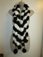 Rabbit Fur Scarf Black White Balls Party Warm CHIC Stylish Layered Winter Party