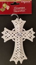 "Christmas Ornament Glitter Crucifix Crosses 5"", Select: Gold, Silver or White"