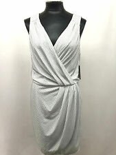 GUESS DRESS SLEEVELESS BEADED FAUX WRAP ELASTIC WAIST TRUE WHITE SIZE L MyAFC