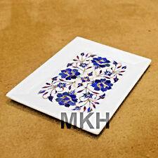 White Marble Inlay Work Drink Serving Platter / Tray Vintage Art Pietradura