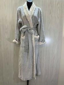 Natori Women's Sherpa-Trim Robe - Size Large 14-16, Grey