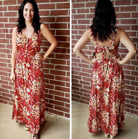 NWT Angie Open Back Tie Print Red Floral boho Summer Fall Maxi Beach Dress S/M/L