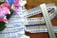 Nylon Rayon Pleated Lace 5mmRibbonThread BLUE & WHITE 35mm Wide 4.25 Metres GaHg