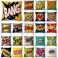 OK-BANG-POP-YAY-ART-ZAP Cotton Throw Linen Pillow Case Cover Home Decor Cushion
