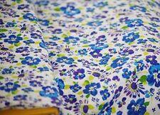 Telas y tejidos florales color principal azul de poliéster para costura y mercería