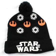 STAR WARS Pom Beanie Embroidered Stretch Fit Unisex Hat Black Knit Cap One Size