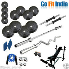 Gofit 32 Kg With 6 In 1 Bench Weight Lifting Home Gym Fitness Pack