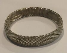 Modernist 925 Sterling Silver Mesh Bangle Bracelet - 39g